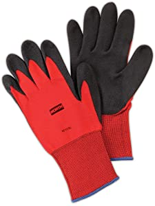 North by Honeywell NF11/8M NorthFlex Red NF11 Foamed PVC Palm Coated Gloves, Nylon, Size 8, Black/Red (Pack of 12)