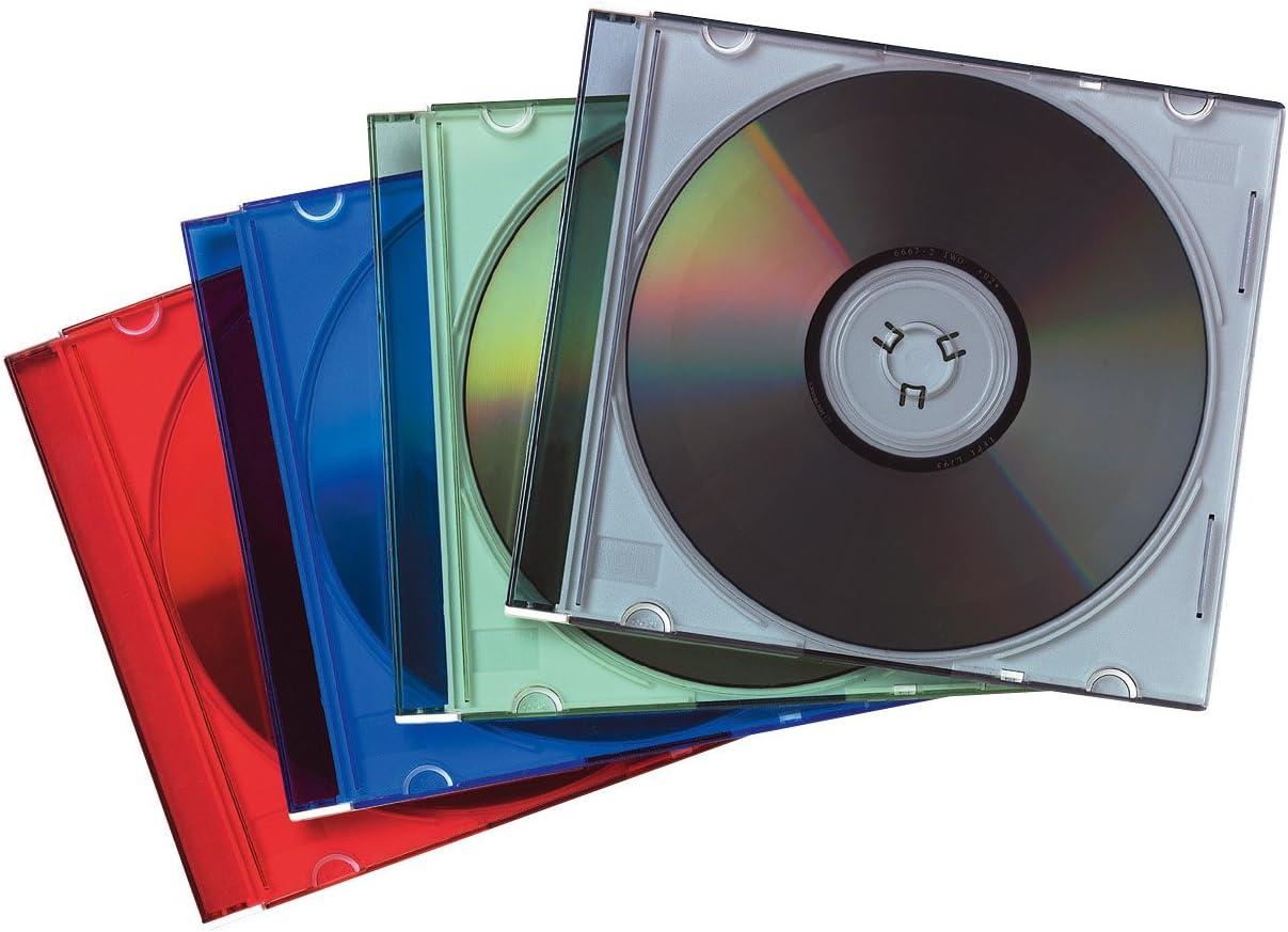 Fellowes 98317 - Pack de 25 Cajas Estuche para CDs/DVDs Slim, Multicolor