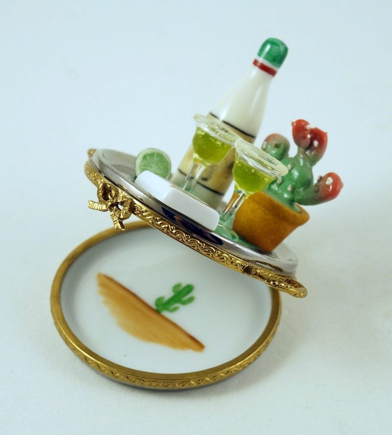 Auténtico francés porcelana pintada a mano caja de Limoges Margarita cócteles bandeja con botella de tequila gafas Cactus y lima: Amazon.es: Hogar