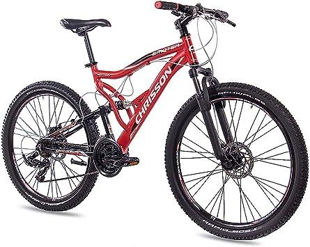 CHRISSON 26 Pulgadas Aluminio MTB Mountain Bike Bicicleta emoter Fully Unisex con 21 g Shimano TX55 2 x Disk Rojo Negro Mate: Amazon.es: Deportes y aire libre