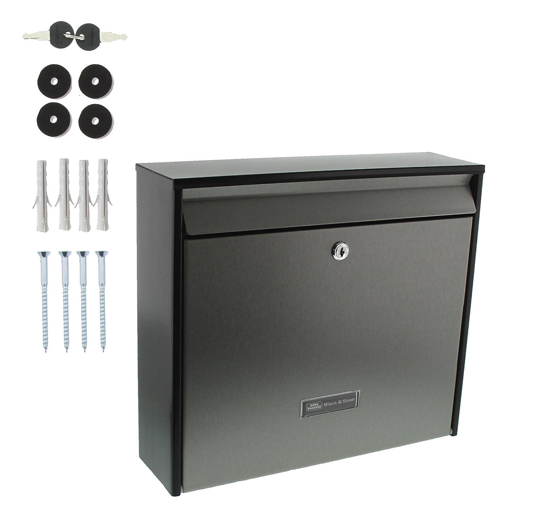 Mattschwarz A4 Einwurf-Format Oxford-Set 61490 B+S Edelstahl Edelstahl-Briefkasten-Set Verzinktes Stahlgeh/äuse mit Edelstahl-T/ür BURG-W/ÄCHTER