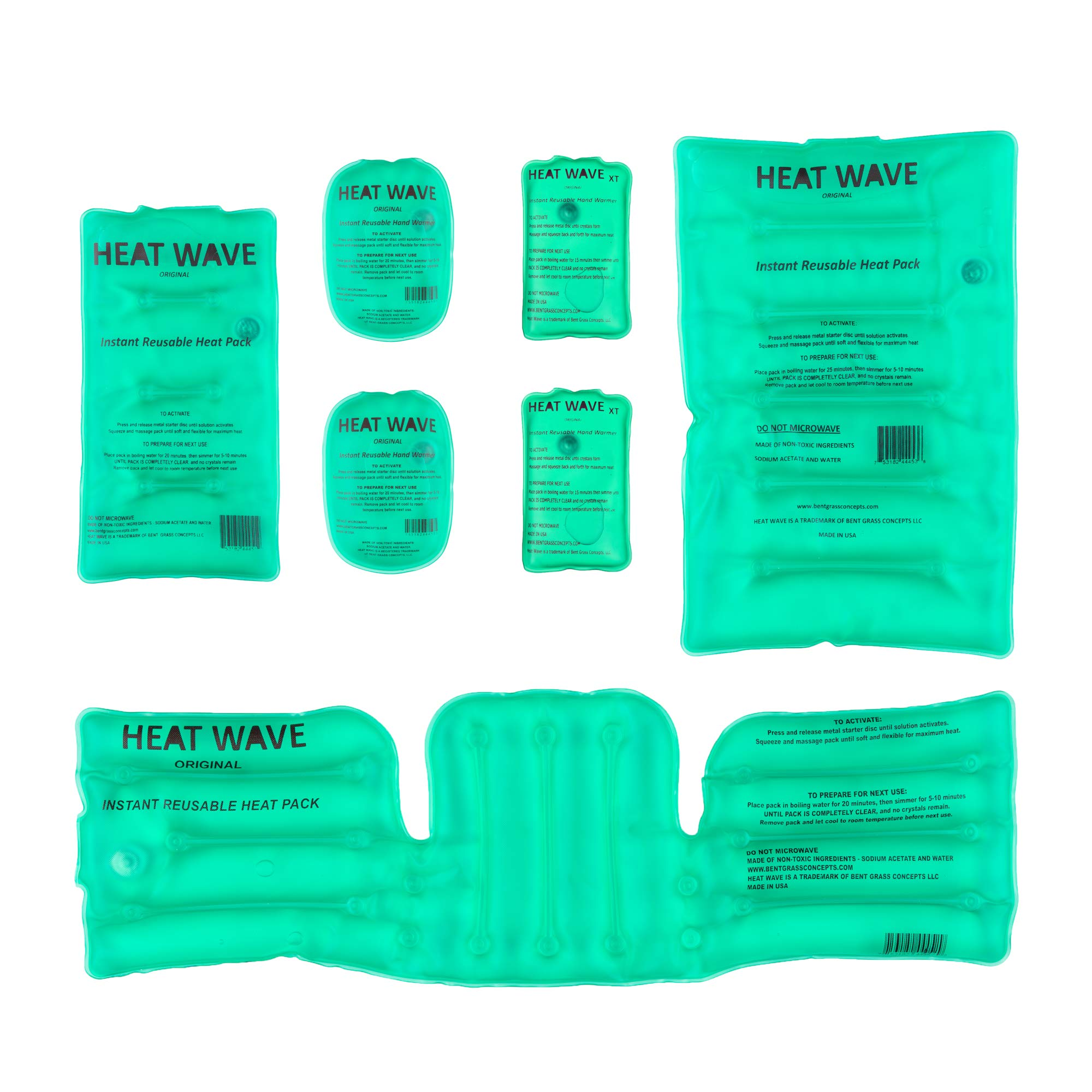 HEAT WAVE Instant Reusable Heat Packs & Hand Warmers - 2 Original & 2 Large XT Hand Warmers, 1 Medium, 1 Large, and 1 Neck/Shoulder/Back - Made in USA by Heat Wave