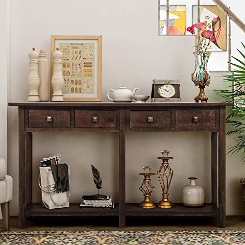 Romatpretty Brushed Texture Entryway Table, Rustic Console Table, Buffet Table, With Four Storage Drawers and Bottom Shelf, For Entrance Living Room Kitchen Home Furniture