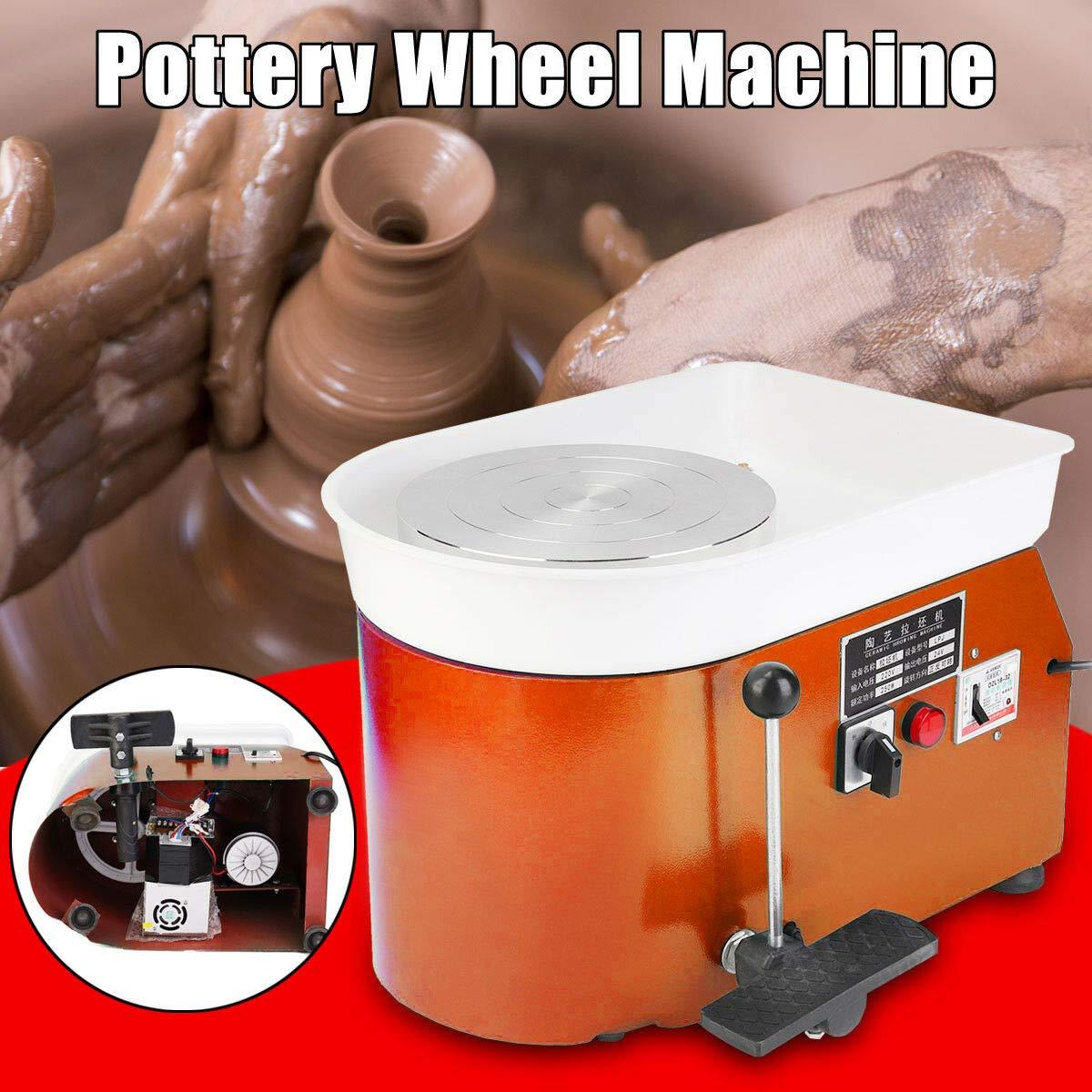 DONNGYZ 25CM Pottery Wheel Pottery Forming Machine 350W Electric Pottery Wheel DIY Clay Tool Ceramic Machine Work Clay Art Craft DIY Grey