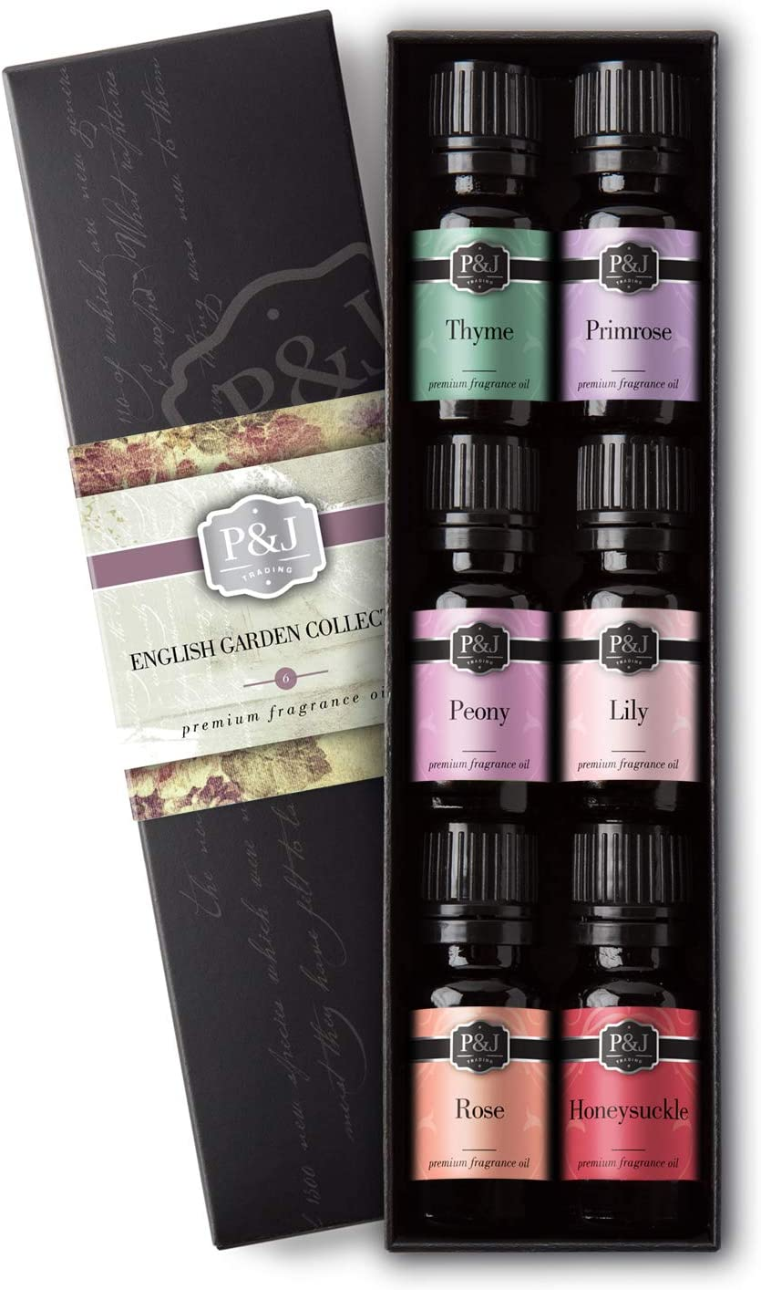 English Garden Set of 6 Fragrance Oils - Premium Grade Scented Oil - 10ml - Rose, Honeysuckle, Thyme, Primrose, Lily, Peonies