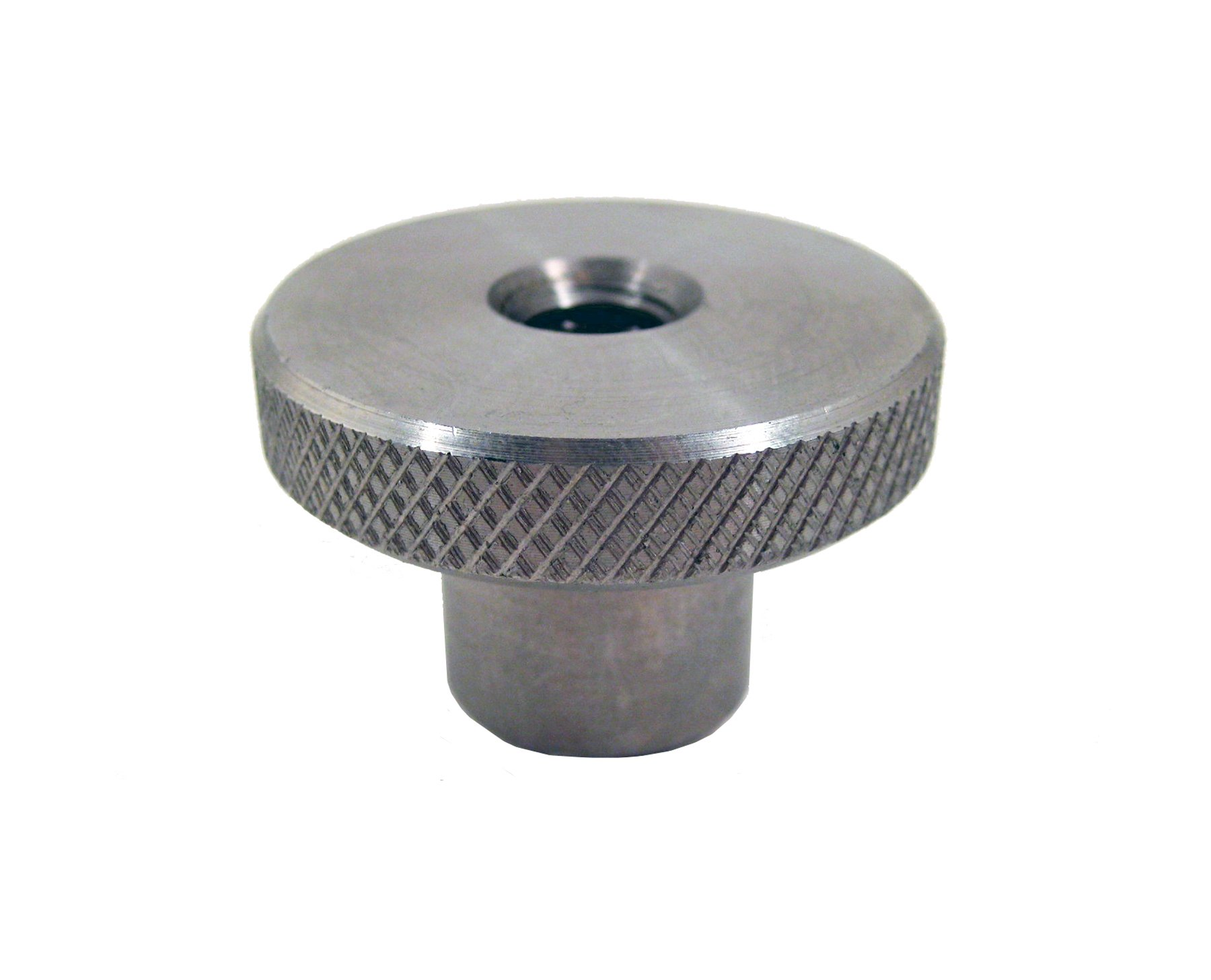 JW Winco Stainless Steel 303 Round Clamping Tapped Knob, Knurled, Threaded Through Hole, 3/8''-16 Thread Size x 1-1/8'' Thread Depth, 2'' Head Diameter (Pack of 1)