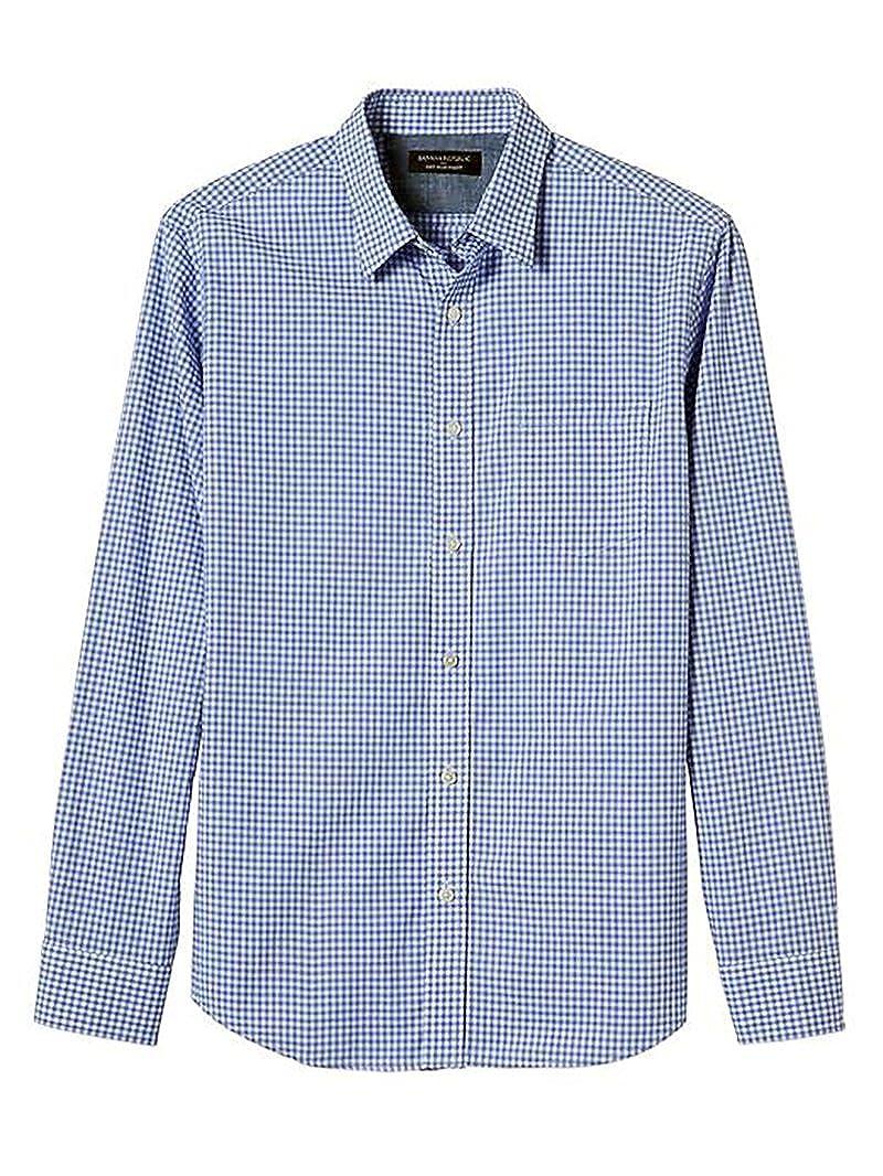 5133e446 Top2: Banana Republic Mens Slim-Fit Soft Wash Blue Gingham Shirt, X-Large