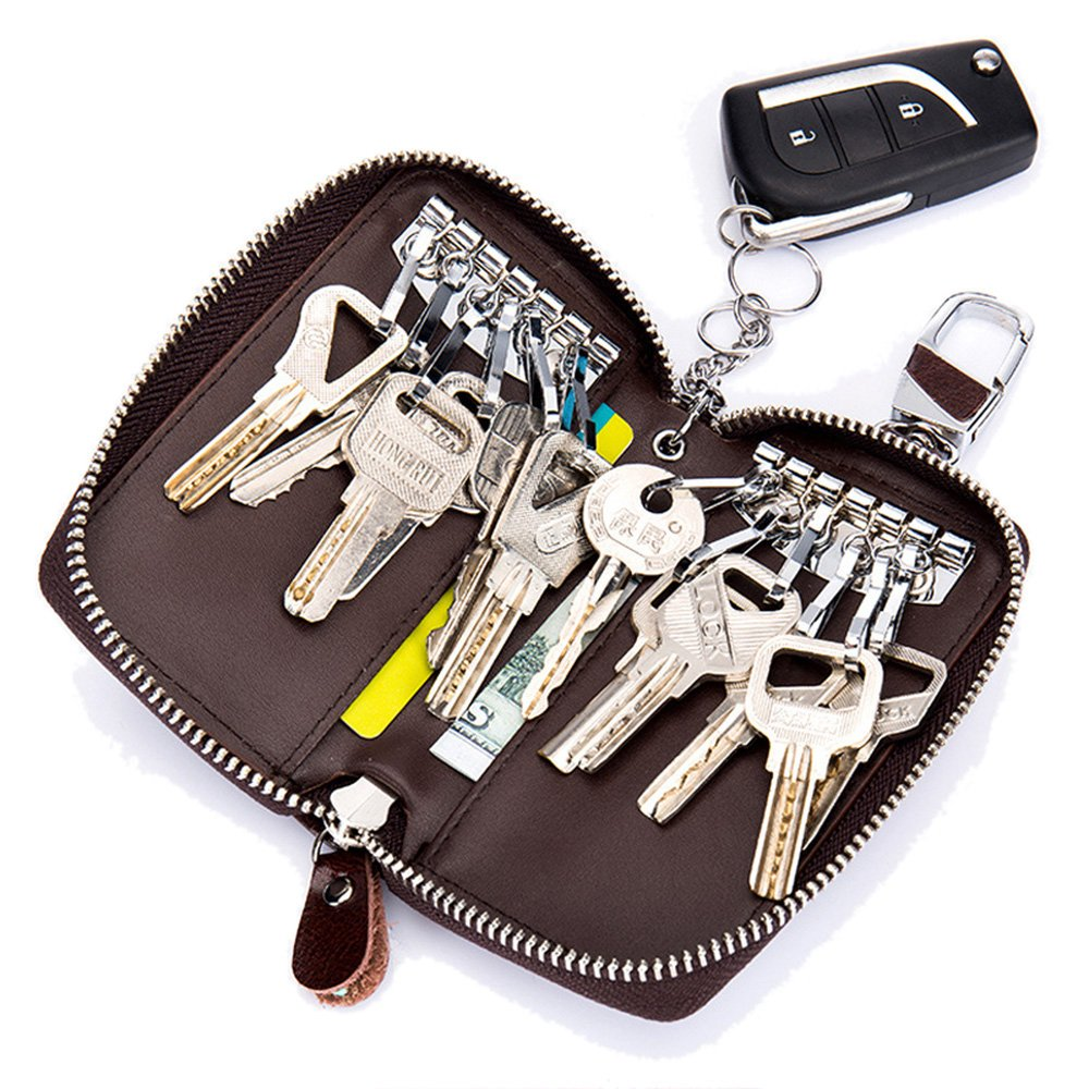 Aladin Large Leather Key Case Wallet with 12 Hooks & 1 Keychain / Ring for Women and Men Black