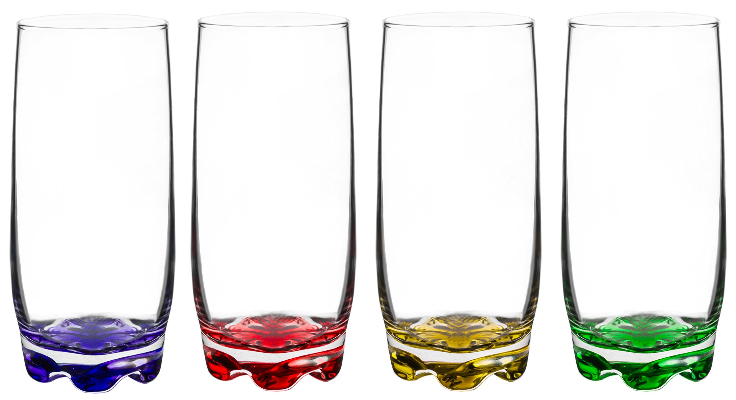 Vibrant Splash Water/Beverage Highball Glasses, 13.25 Ounce - Set of 4