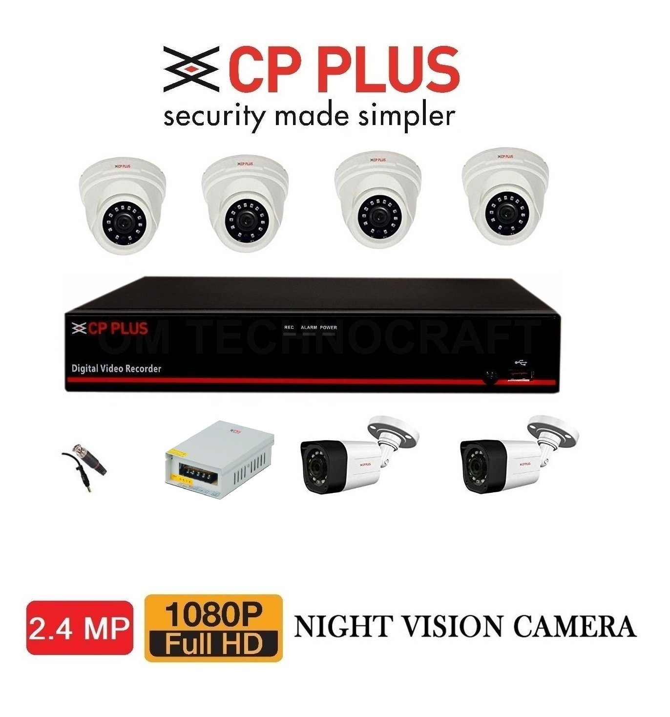 Milestone CP Plus 8CHNL 2.4MP DVR With 2.4MP Dome 4PCS And
