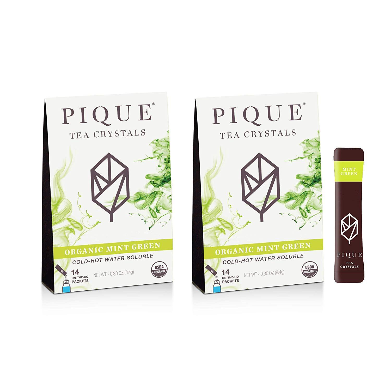 Pique Tea Organic Mint Green Tea Crystals - Gut Health, Fasting, Calm - 28 Single Serve Sticks (Pack of 2) by PIQUE