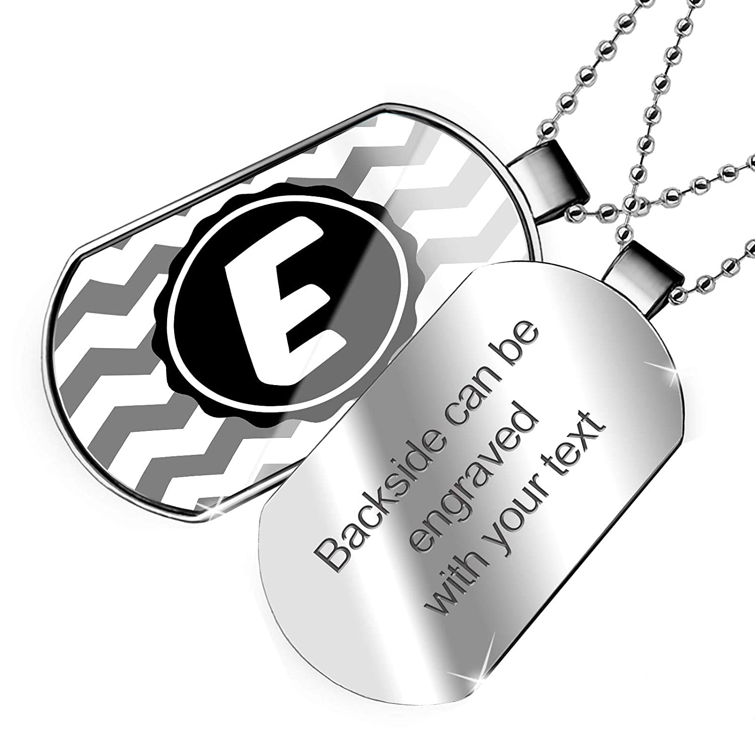 NEONBLOND Personalized Name Engraved Monogram E Grey Chevron Dogtag Necklace
