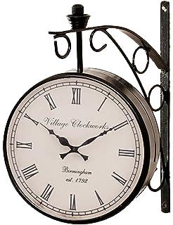 royalscart double sided railway analog wall clock