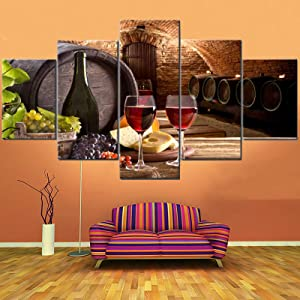 Fu-Keivy Wine Wall Decor for Dining Room Kitchen Grapes Wall Pictures Fruit 5 Piece Canvas Paintings Wall Art for Living Room Cellar with Wooden Barrel Artwork Giclee Framed Ready to Hang