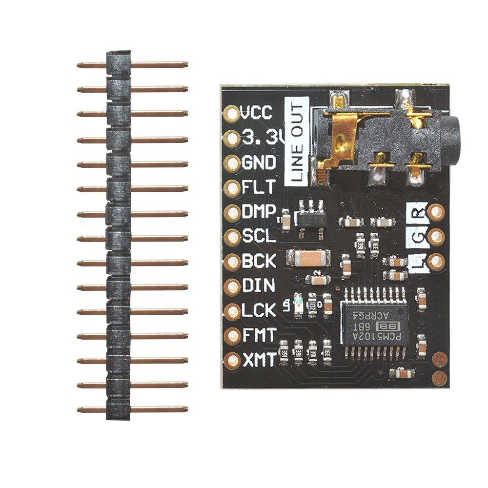 Diymore Pcm5102 a DAC Digital convertisseur analogique décodeur Audio Stéréo 32bit I2s carte son voix lecteur carte de développement module avec prise jack stéréo 3,5 mm pour Raspberry Pi Phat