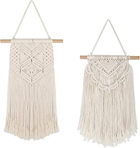 Macrame Wall Hanging, 2 Pack Boho Chic Art Woven Tapestry Wall Decor, Beautiful Geometric Wall Art for Home, Apartment, Dorm Room Decorations, 16