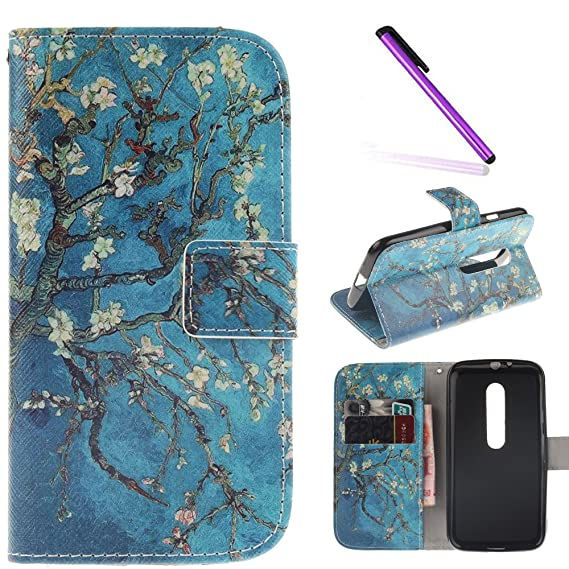 the latest ace73 10e69 Motorola Moto G3 Case,LEECOCO Fancy Print Design Wallet Case with Card  Slots Shockproof Colorful Floral PU Leather Flip Stand Case Cover for  Motorola ...
