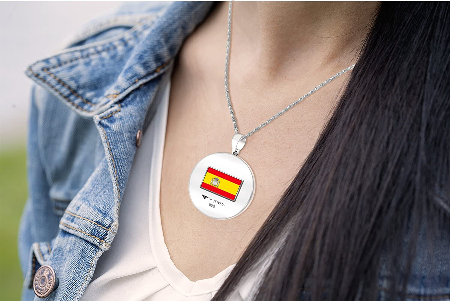 18in to 24in 0.925 Sterling Silver 1in DNA Certified Spanish Heritage Pendant Medal with Flag Necklace