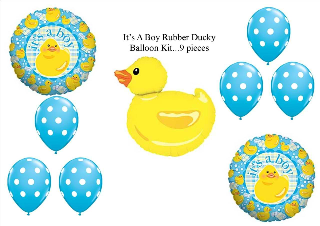 Amazon.com: Itu0027s A Boy Rubber Ducky Duckie BABY Shower Balloons Decorations  Supplies: Kitchen U0026 Dining