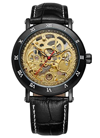 4f3e04d949210 Carrie Hughes Men s Luxury Steampunk Automatic Mechanical Golden Skeleton  Leather Watch CH498