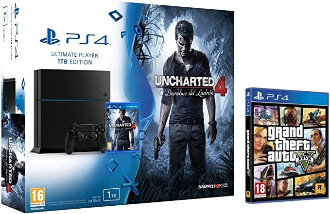 PlayStation 4 (PS4) - Consola 1 Tera + Uncharted 4 + GTA V: Amazon.es: Videojuegos