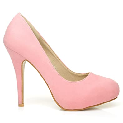 4b164aedfbda H251 Baby Pink Faux Suede Stiletto High Heel Concealed Platform Court Shoes