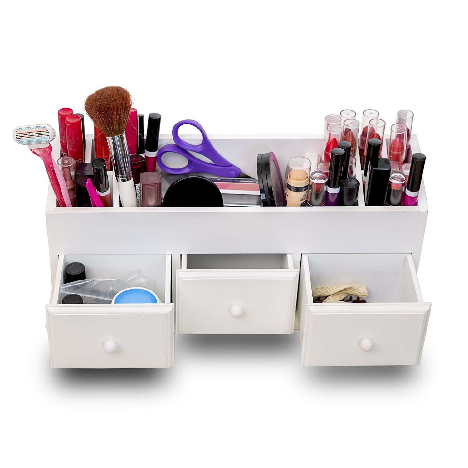 Vanity Drawer Beauty Organizer 3 Drawers - Wooden Cosmetic Storage Box for Neat & Organize Storing of Makeup Tools, Small Accessories at Home & Office Vanities & Bathroom Counter-top (7 Slots)