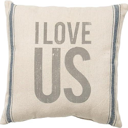 Primitives by Kathy Vintage Flour Sack Style Light Striped Throw Pillow, 15 x 15 , I Love Us