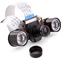 Quimat Raspberry Pi Caméra IR-Cut Capteur OV5647 5MP Module de Mise au Point Réglable IR LED Vision Nocturne Webcam Video 1080p Compatible avec Raspberry Pi 3 2 1 B B + A A +