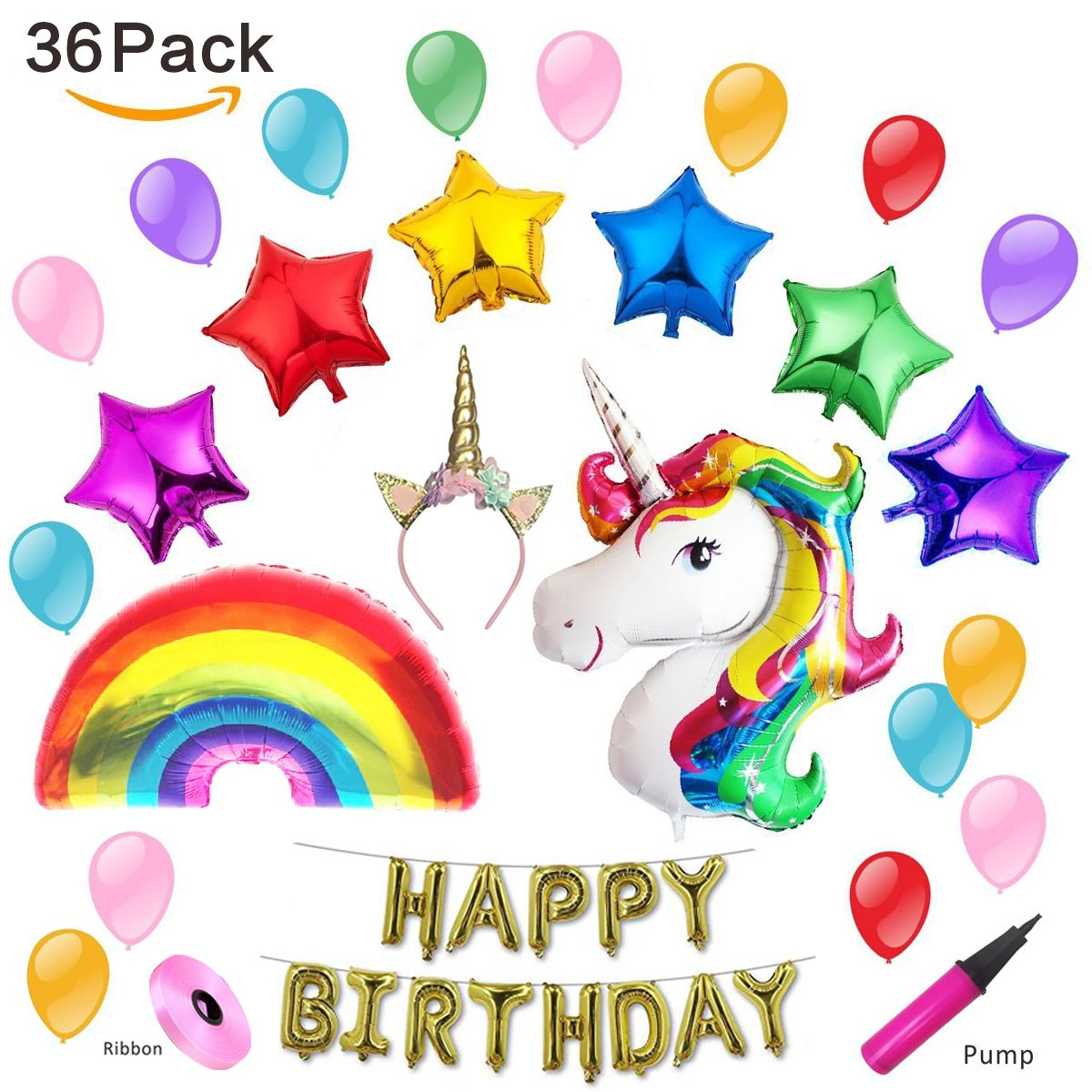 Amazon Rainbow Unicorn Balloons Birthday Party Supplies For Kids Decorations Baby Shower Health Personal Care