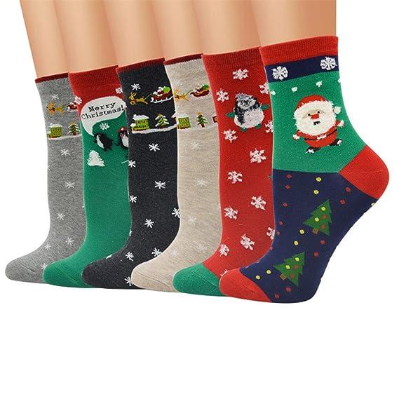 6pcs calcetines mujer termicos divertidos, Kfnire lindo animales impresión diseños mujer calcetines altos (estilo