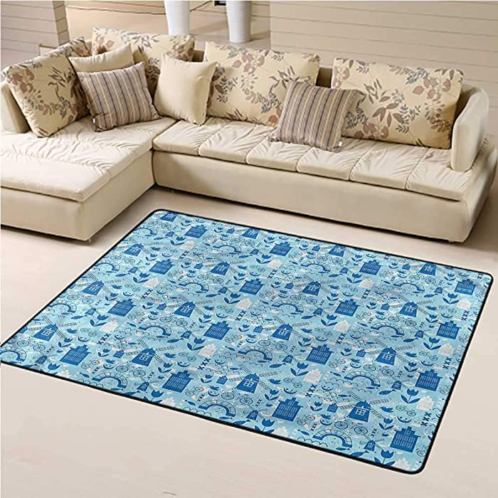 Outdoor Rug Dutch for Kids Yoga Living Room Home Decor Rugs Cartoon Windmills Design 6' x 9' Rectangle