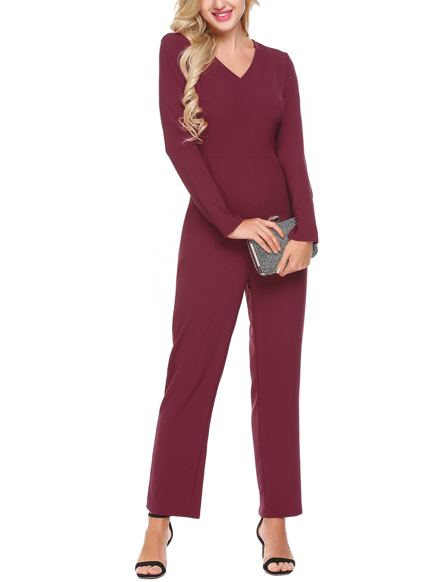 BURLADY Women's Casual V-Neck Long Sleeve Wide Leg Pocket Sexy Jumpsuit Rompers