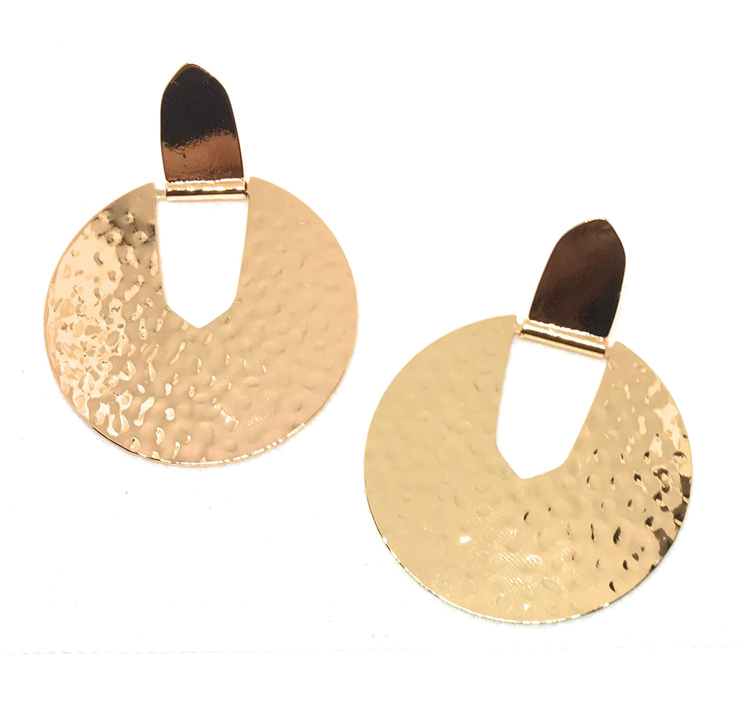 Inspired Fashion Jewelry Big Statement Circle Earrings in Rose Gold Metal Tone