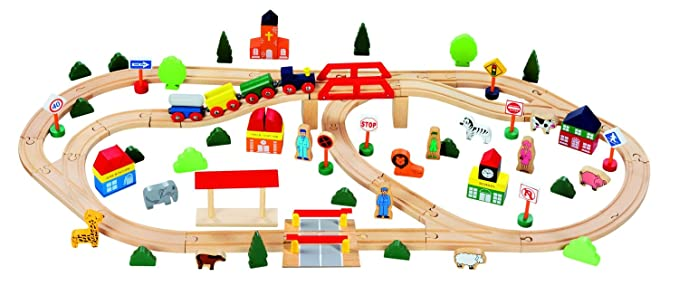 Siso Holz-Eisenbahn 1  Lok Fahrzeuge Holzspielzeug 3 Waggons  je 15 cm Set 1