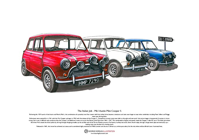 The Italian Job Austin Mini Cooper S Mk1 Art Poster A3 Size
