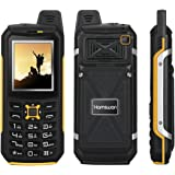 Rugged Phones, HAMSWAN Unlocked GSM IP68 Waterproof Shockproof Dustproof Rugged Phones with Dual SIM Card Power Bank USB Port Big Buttons Flashlight for Outdoor Sports/ Elderly/Workers (Yellow)