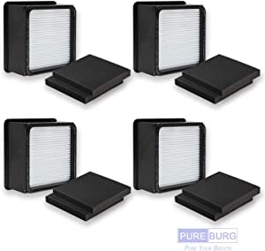 PUREBURG 4-Pack Complete Replacement Set - 4 x HEPA Air Filters & 8 x Foam Filters for Dirt Devil UD70100 UD70105 UD70107 UD70110 UD70120 UD70220 Uprights Vacuum Part Numbers F66 304708001