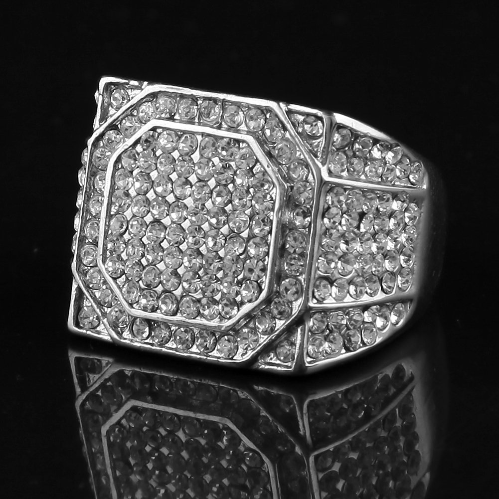 HongBoom Hot Hip Hop Rings 18K Gold Plated CZ CRYSTAL Fully Iced-Out Shine Ring (Silver/US size 12) by HongBoom (Image #3)