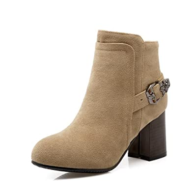 Women's Solid High-Heels Round Closed Toe Imitated Suede Zipper Boots with Metal