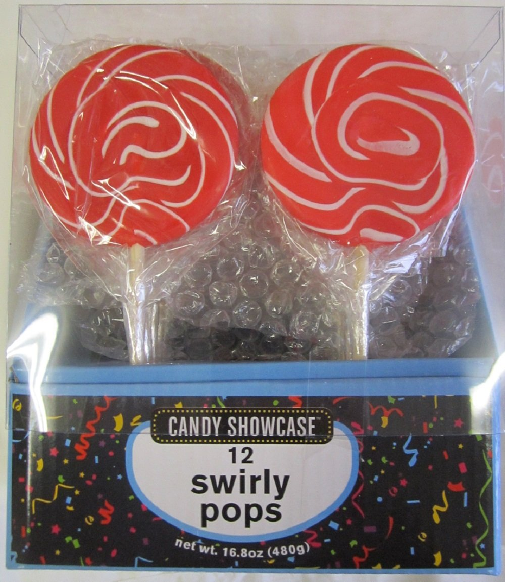 24 Large 3'' Swirl Lollipops Red (2 Packs of 12)