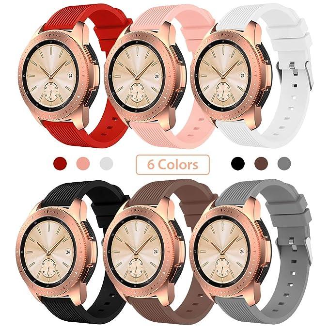 Sundaree Compatible con Correa Galaxy Watch 42MM/Galaxy Watch Active2,6 Colores Silicona Reemplazo Correa 20MM Banda Pulsera de Repuesto Correa para ...