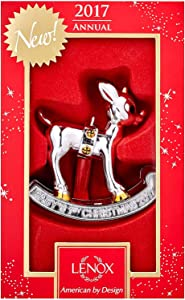 Lenox Annual Silver Ornaments 2017 Baby's 1st Christmas Rudolph ornament New in gift box