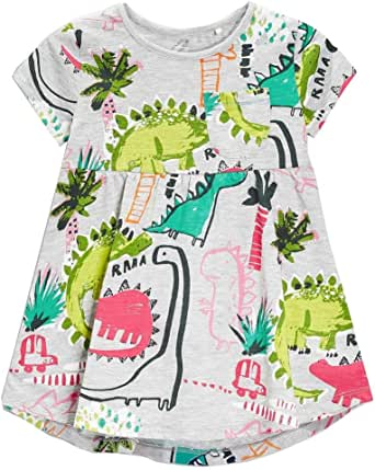 Frogwill Girls Green Dinosaur Tunic Short Sleeve Summer Casual Dress 2-7T