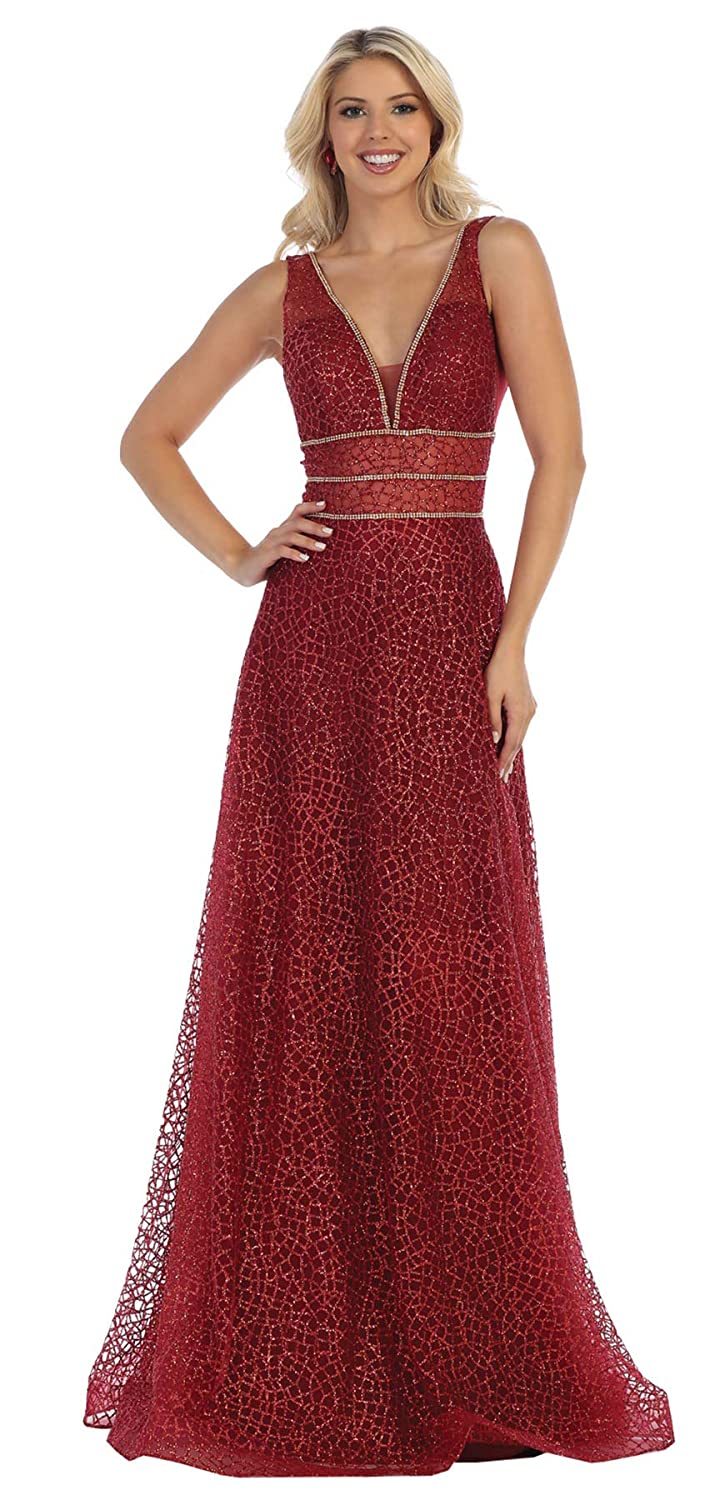 Burgundy Formal Dress Shops Inc FDS1623 Red Carpet Formal Designer Gown