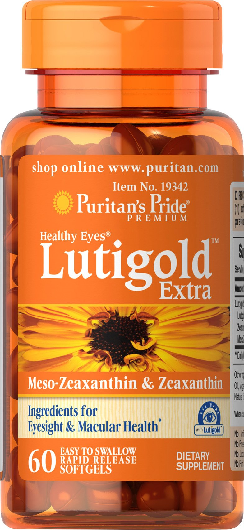 Puritan's Pride Healthy Eyes Lutigold Extra - 60 Soft Gels - Lutein with Meso-zeaxanthin and Zeaxanthin