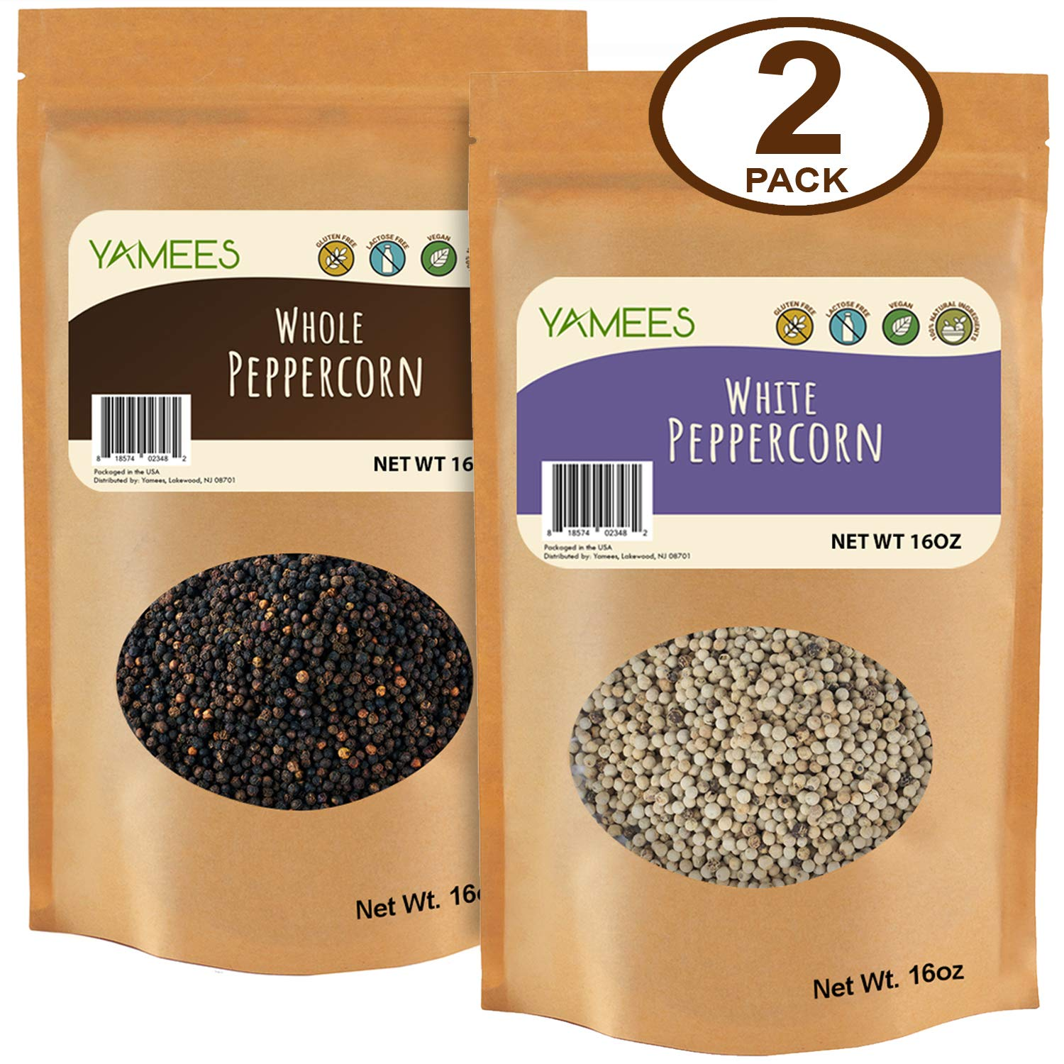 Peppercorns - Black Peppercorns - Whole White Peppercorns - Bulk Spices - 2 Pack of 16 Ounce Each by YAMEES