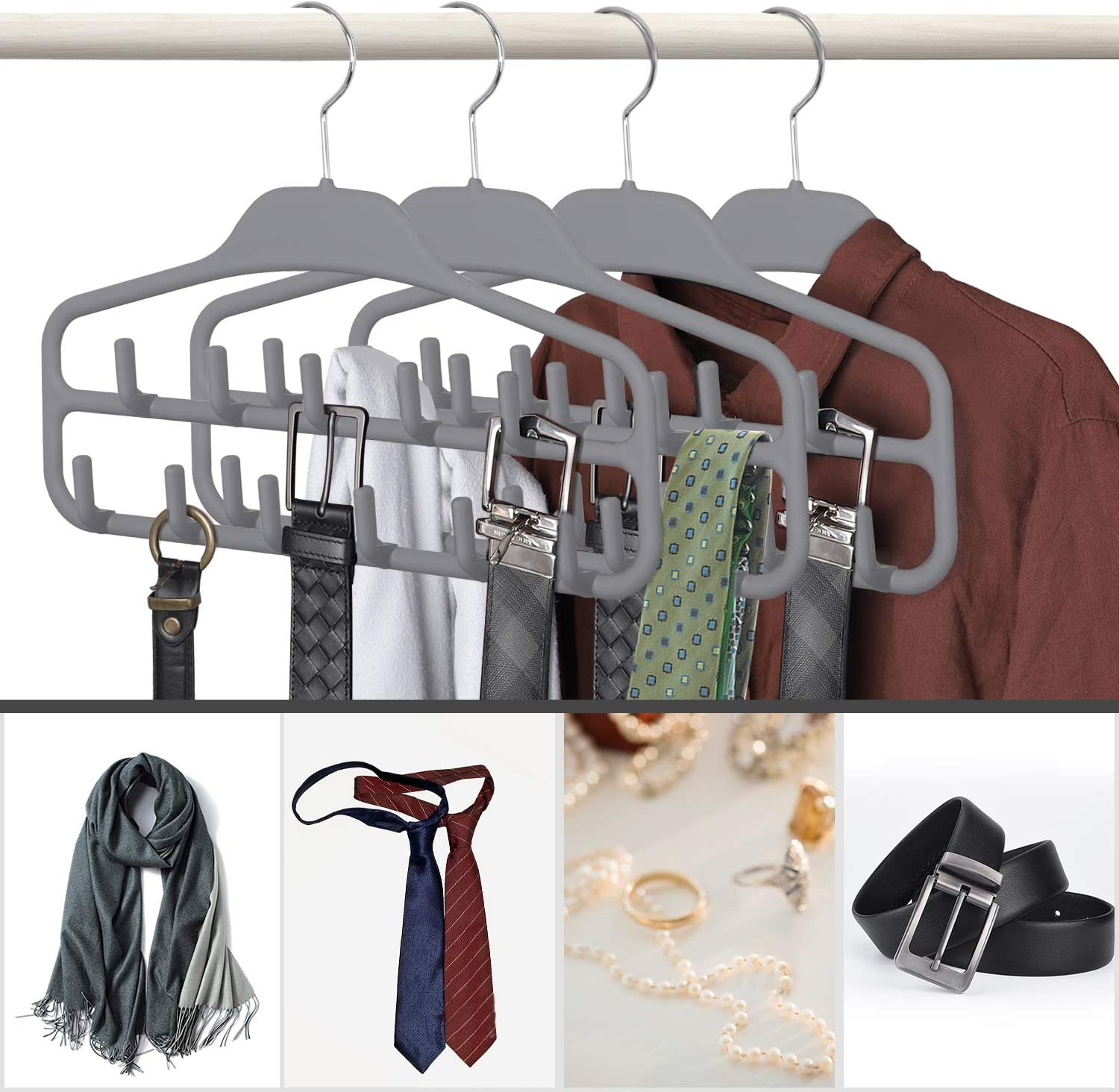 360 Degree Rotating Tie Rack with Hooks SMARTAKE Belt Hanger Bundle with SMARTAKE Scarf Hanger Bow Tie Scarves Non-Slip Durable Hanging Closet Organizer Accessories Holder for Leather Belt