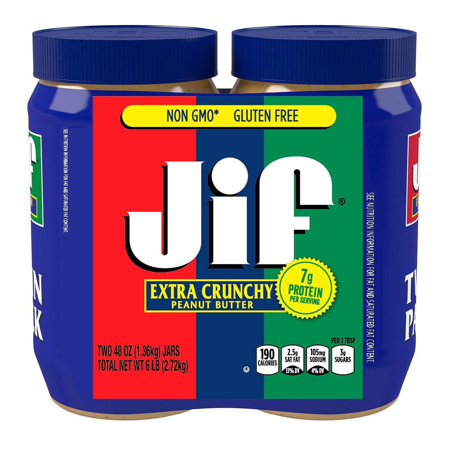 2 Pack Combo JIF Extra Crunchy Peanut Butter 48 Oz Each Jar Cos11