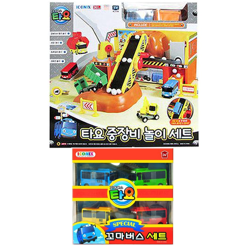 Tayo The Little Bus Heavy Equipment Play Set+Special Mini Bus 4 Pcs/Car Play Set/Track Play/Parking Play/Toy/Animation Character/Children